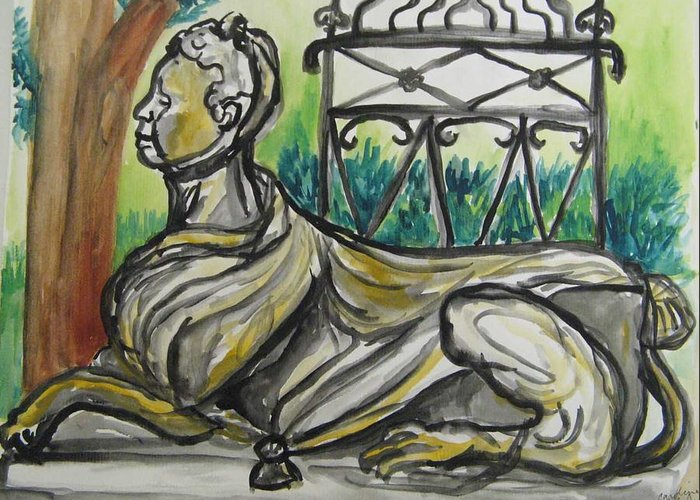 Landscape Greeting Card featuring the painting The Ringwood Sphinx by Caroline Lifshey