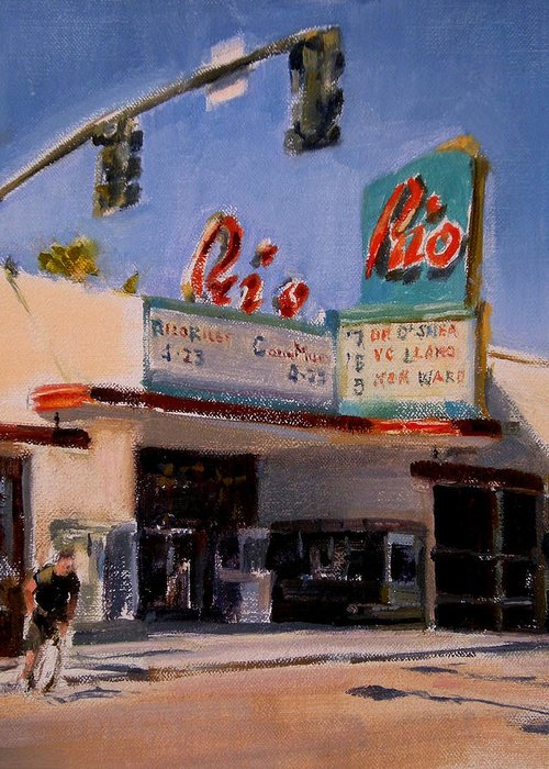 Cityscape Greeting Card featuring the painting The Rio Theater by Merle Keller