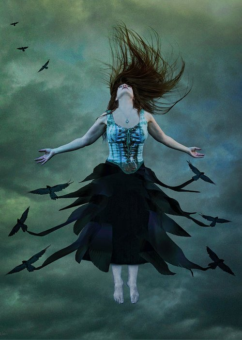 Crows Greeting Card featuring the digital art The Rising by Nicole Wilde