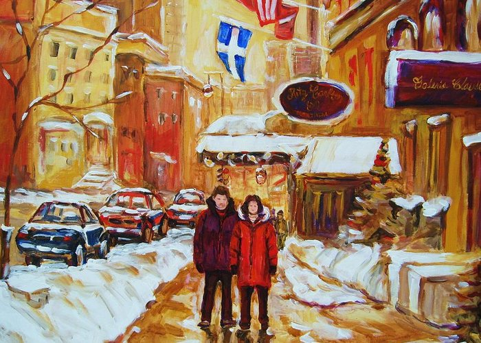 Streetscene Greeting Card featuring the painting The Ritz Carlton by Carole Spandau