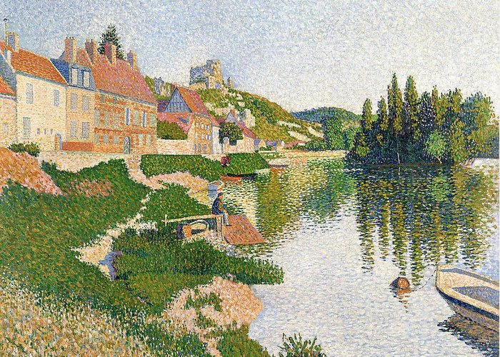 The Greeting Card featuring the painting The River Bank by Paul Signac