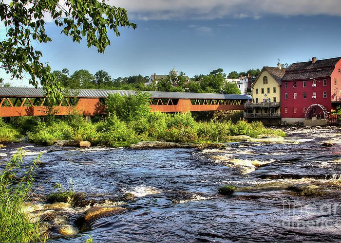 Covered Bridge In Littleton Nh Greeting Card featuring the photograph The River Walk Bridge by Diana Nault
