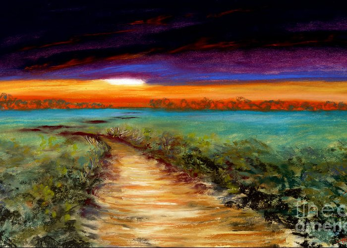 Painting Greeting Card featuring the painting The Road Home by Addie Hocynec