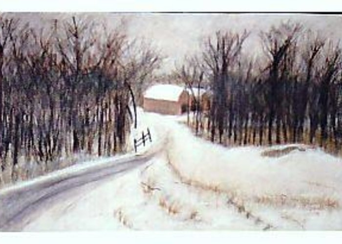 Landscape Greeting Card featuring the painting The Road Home by Jack Spath