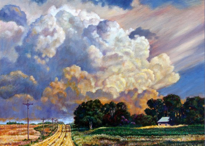 Landscape Greeting Card featuring the painting The Road Home by John Lautermilch