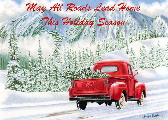 Winter Road Scenes Drawings Greeting Cards