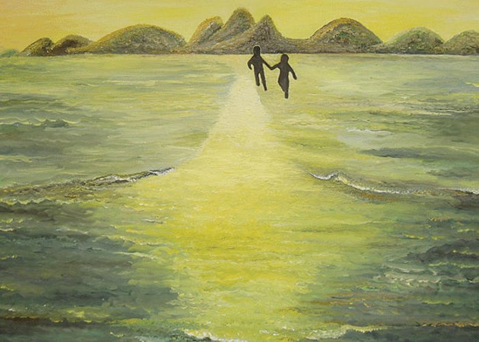 Soul Greeting Card featuring the painting The Road In The Ocean Of Light by Karina Ishkhanova