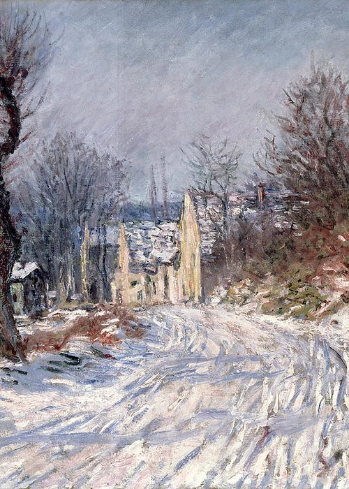 The Greeting Card featuring the painting The Road To Giverny In Winter by Claude Monet