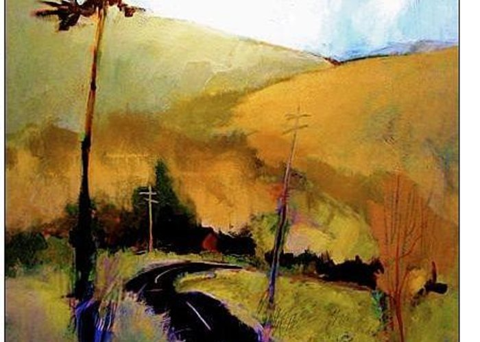 Abstract Greeting Card featuring the painting The Road To The Right by Dale Witherow