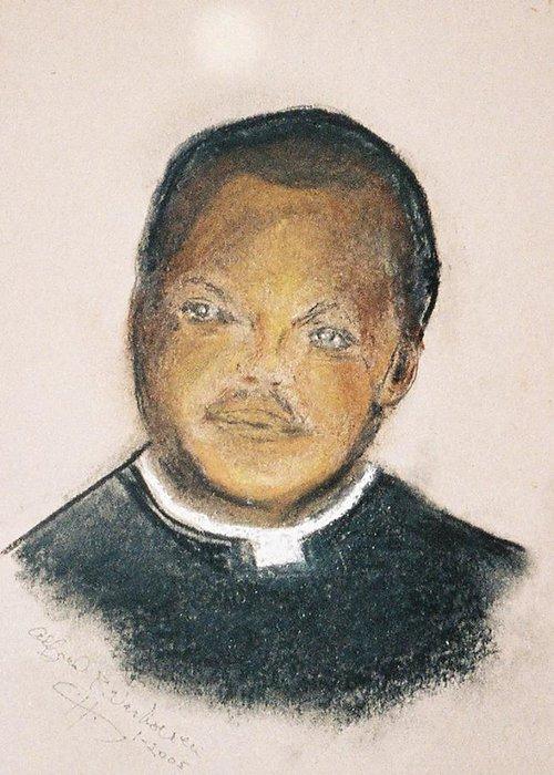 Portrait Of Roman Catholic Father Mushi Zanzabar Africa Greeting Card featuring the painting The Roman Catholic Priest From Zanzibar by Alfred P Verhoeven