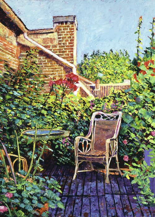 Impressionism Greeting Card featuring the painting The Roof Garden by David Lloyd Glover
