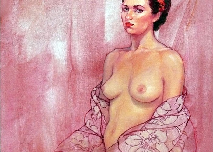 Female Nudes Greeting Card featuring the painting The Rose by Roz McQuillan
