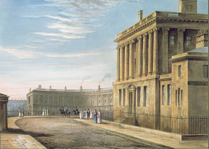 The Greeting Card featuring the painting The Royal Crescent by David Cox