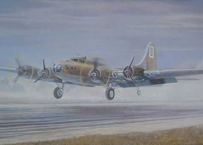 The Only Survivor Of The 100th Bomb Group On The October 10 Greeting Card featuring the painting The Royal Flush comes home by Scott Robertson