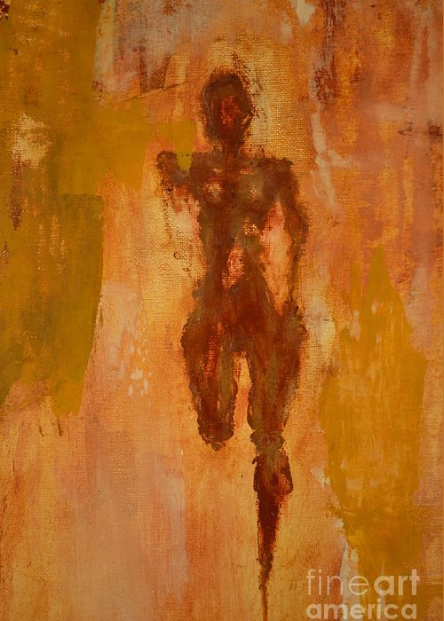 Abstract Greeting Card featuring the painting The Runner- Life's Journey by Vincent Avila