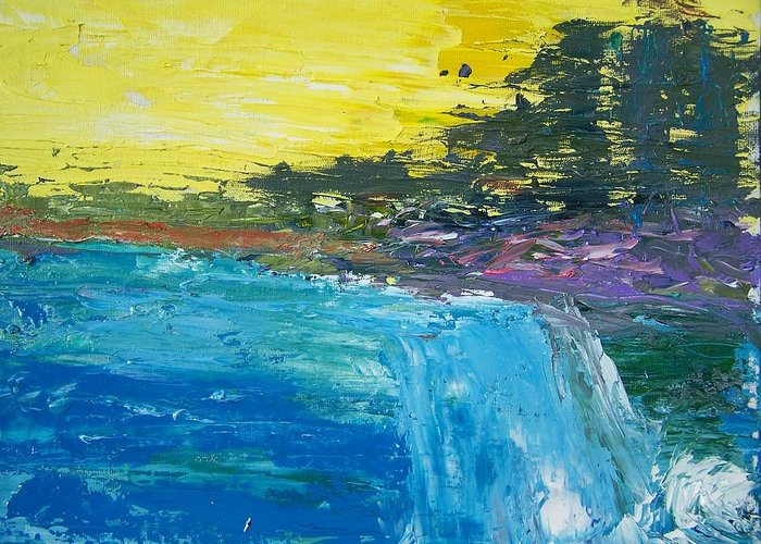 Abstract Greeting Card featuring the painting The Rush by Geraldine Liquidano