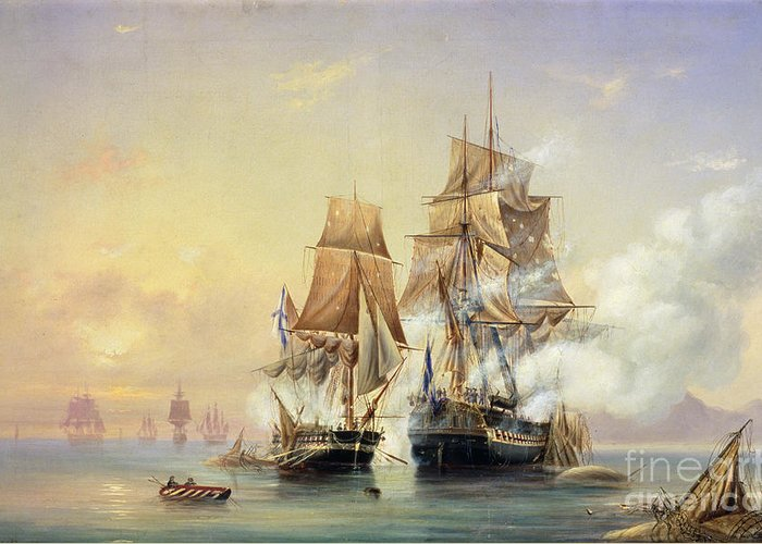 The Greeting Card featuring the painting The Russian Cutter Mercury Captures The Swedish Frigate Venus On 21st May 1789 by Aleksei Petrovich Bogolyubov