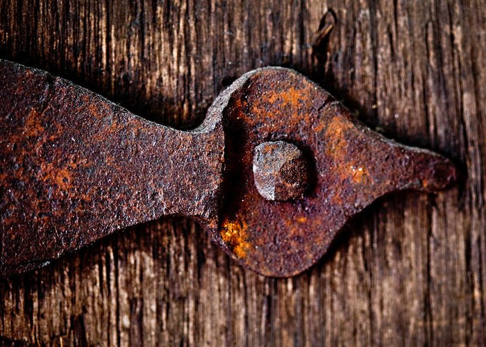 Door Greeting Card featuring the photograph The Rusty Hinge by Lisa Russo