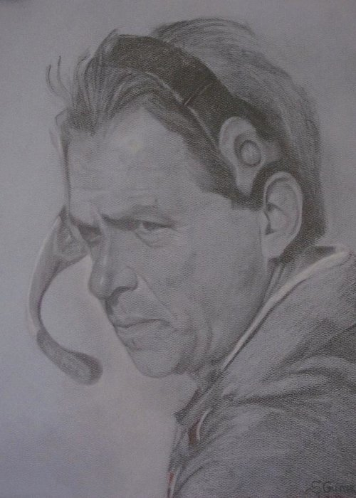 Coach Saban Greeting Card featuring the drawing The Saban Look by Sheila Gunter