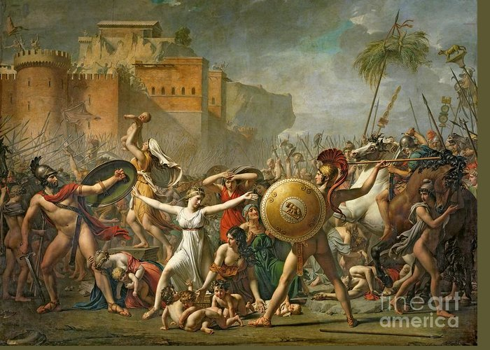 The Greeting Card featuring the painting The Sabine Women by Jacques Louis David