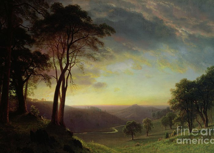 Albert Greeting Card featuring the painting The Sacramento River Valley by Albert Bierstadt