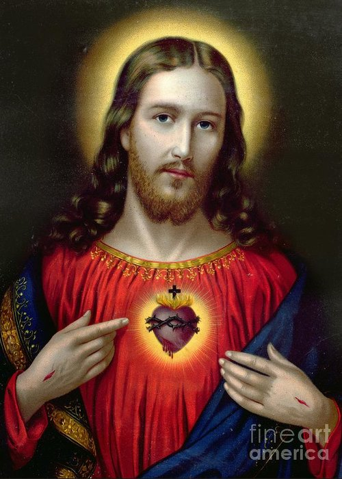 Jesus Greeting Card featuring the painting The Sacred Heart Of Jesus by English School