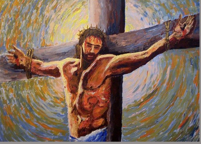 Religious Greeting Card featuring the painting The Sacrifice by Mats Eriksson
