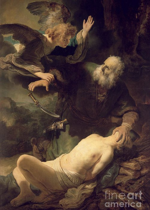 Rembrandt Greeting Card featuring the painting The Sacrifice Of Abraham by Rembrandt