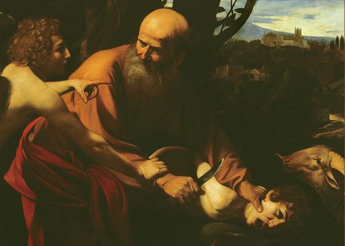 Caravaggio Greeting Card featuring the painting The Sacrifice Of Isaac by Caravaggio