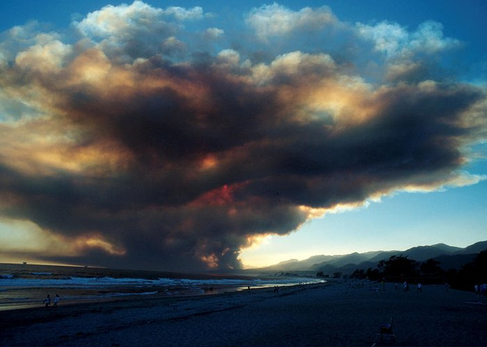 Santa Barbara Greeting Card featuring the photograph The Santa Barbara Fire by Jerry McElroy
