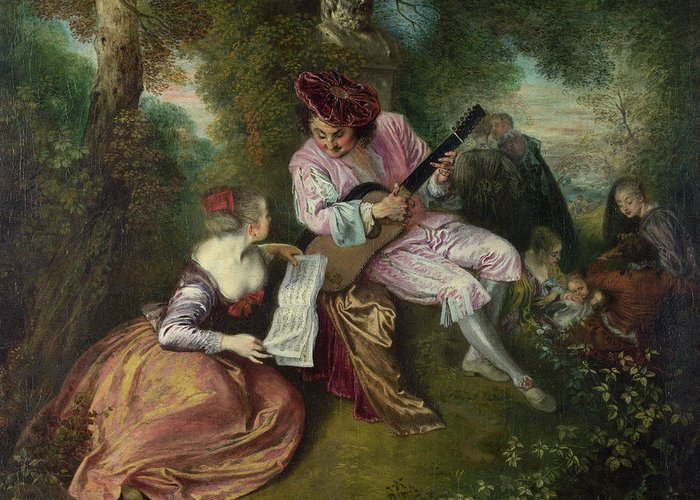 Antoine Watteau Greeting Card featuring the painting The Scale Of Love by Jean-Antoine Watteau