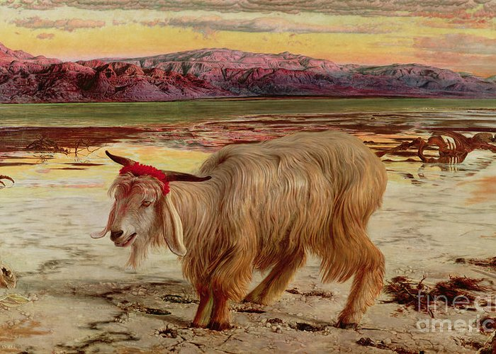 The Scapegoat Greeting Card featuring the painting The Scapegoat by William Holman Hunt