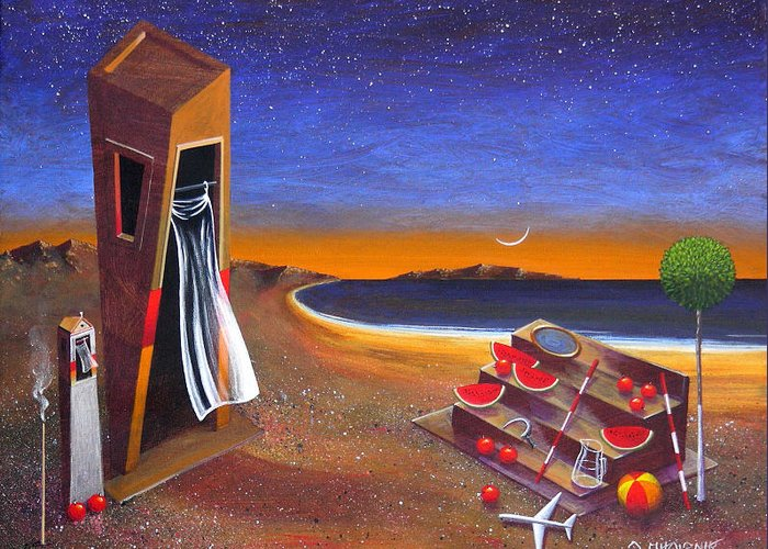 Landscape Greeting Card featuring the painting The School Of Metaphysical Thought by Dimitris Milionis