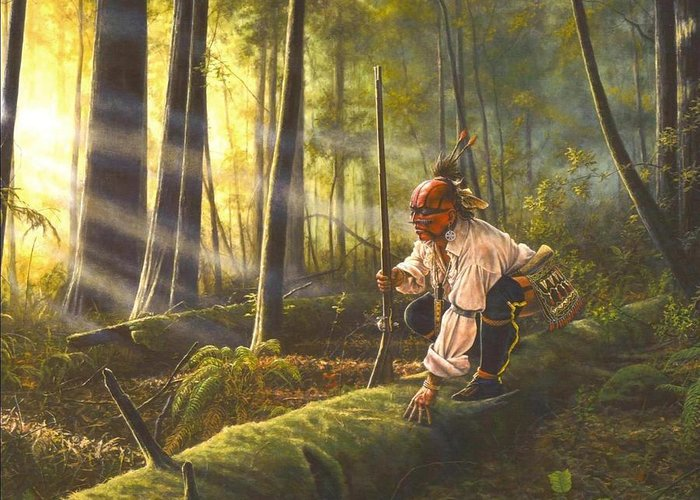Native American Greeting Card featuring the painting The Scout by Dan Nance