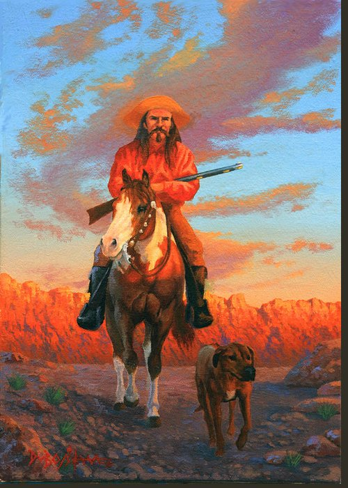 Scout With Dog Greeting Card featuring the painting The Scout by Howard Dubois
