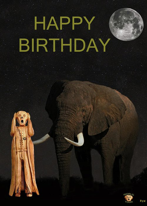 Africa Greeting Card Featuring The Mixed Media Scream World Tour African Elephant Happy Birthday By
