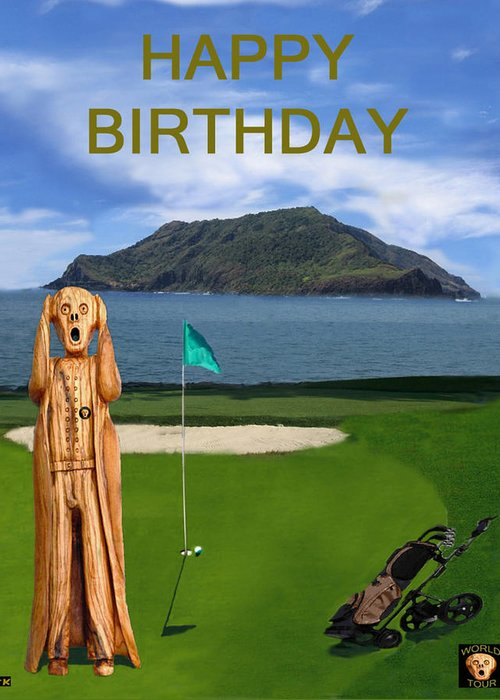 The Scream World Tour Golf Happy Birthday Greeting Card For Sale By
