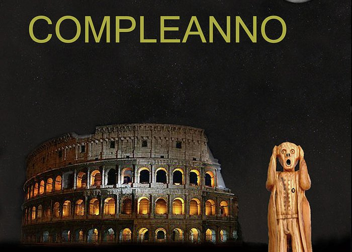 Buon Compleanno Greeting Card Featuring The Mixed Media Scream World Tour Rome Happy Birthday Italian