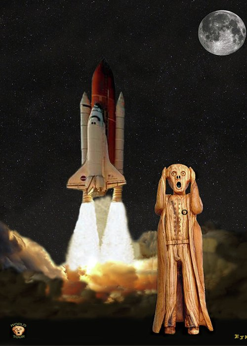 The Scream World Tour Space Shuttle Greeting Card featuring the mixed media The Scream World Tour Space Shuttle by Eric Kempson