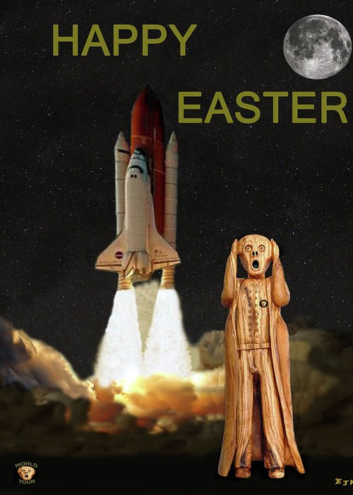 The Scream World Tour Space Shuttle Greeting Card featuring the mixed media The Scream World Tour Space Shuttle Happy Easter by Eric Kempson