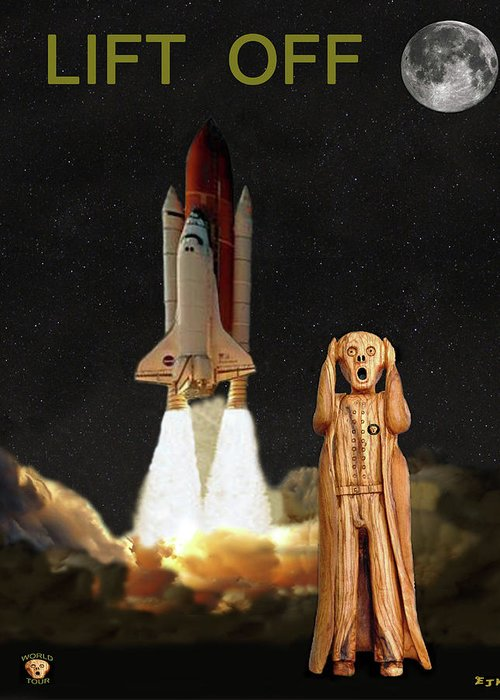 The Scream World Tour Space Shuttle Greeting Card featuring the mixed media The Scream World Tour Space Shuttle Lift Off by Eric Kempson