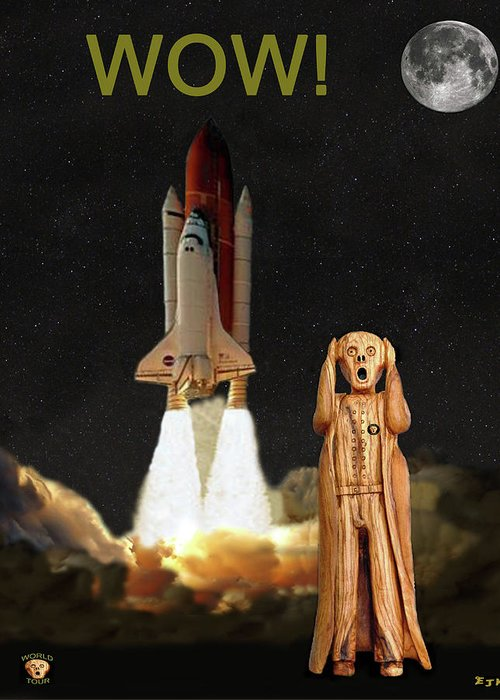The Scream World Tour Space Shuttle Greeting Card featuring the mixed media The Scream World Tour Space Shuttle Wow by Eric Kempson