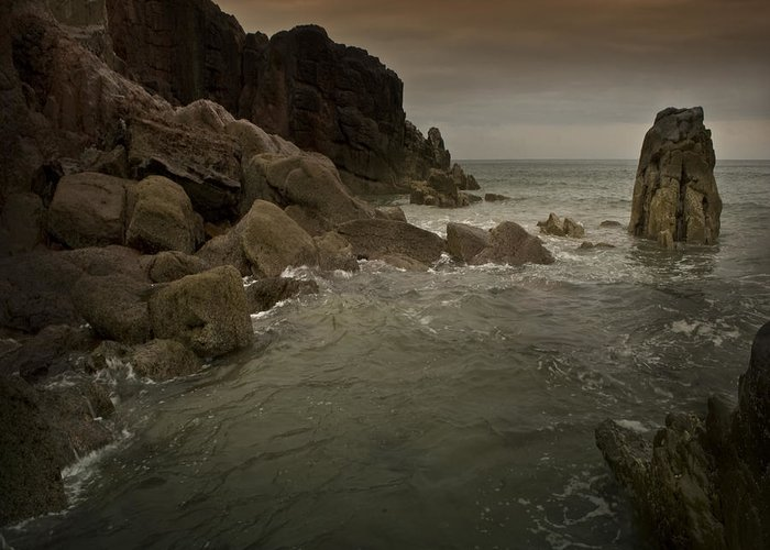 Sea Greeting Card featuring the photograph The Sea And The Rocks by Angel Ciesniarska
