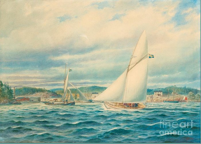 Jacob H�gg Greeting Card featuring the painting The Sea Approach To Kyrkviken by MotionAge Designs