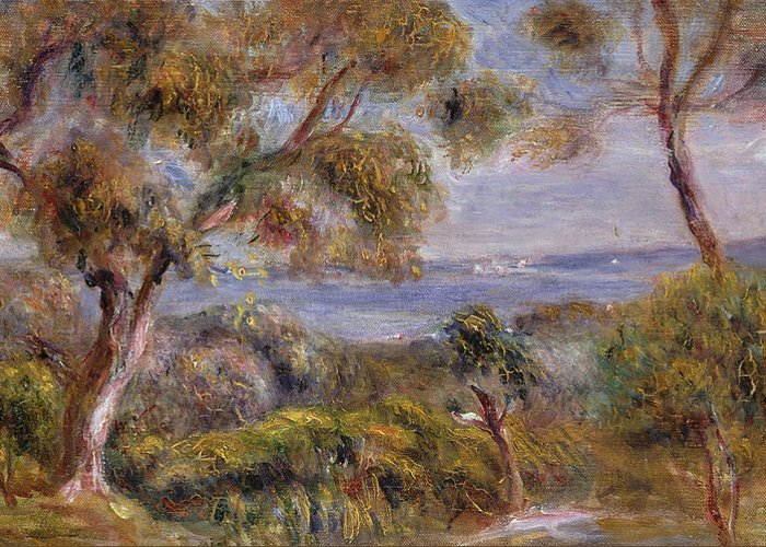 The Sea At Cagnes Greeting Card featuring the painting The Sea At Cagnes by Pierre Auguste Renoir