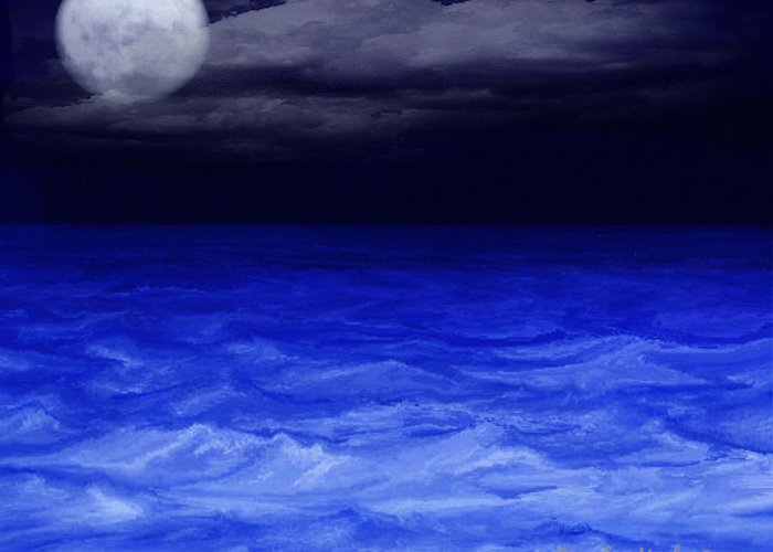 Sea Greeting Card featuring the digital art The Sea At Night by Gina Lee Manley