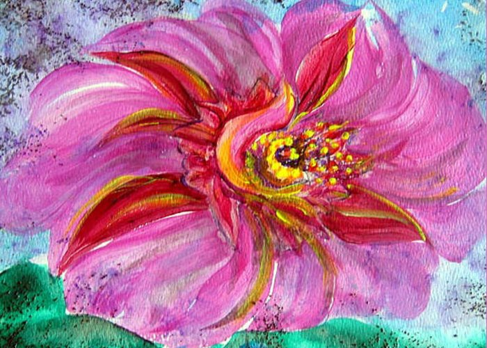 Imagining The Flower Of Faith In Bloom. Deep Rose To Lavender Pink. Light Emanating From The Center. Greeting Card featuring the painting The Secret Eye Of Faith by Sarah Hornsby