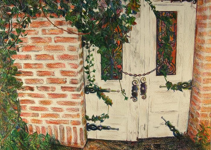Doors Greeting Card featuring the drawing The Secret Garden by Lois Guthridge