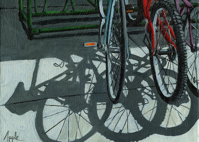 Bicycles Greeting Card featuring the painting The Secret Meeting - Bicycle Shadows by Linda Apple