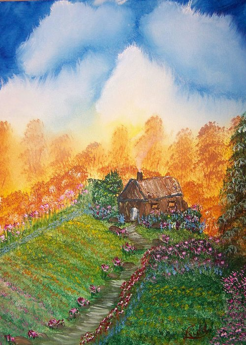 Cabin Greeting Card featuring the painting The Secret Place by Laurie Kidd